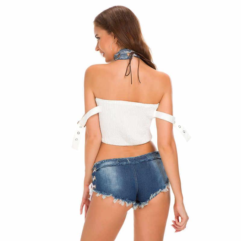 IFox 女性のジーンズのショートセクシーな包帯ボタン遮断低ウエストデニムジーンズショートパンツ多くの色利用できるストリート着用 mujer