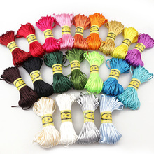19Color about 20meter Satin Nylon Cord Solid Rope For Jewelry Making Beading Cotton Baby 2mm Braided Silk