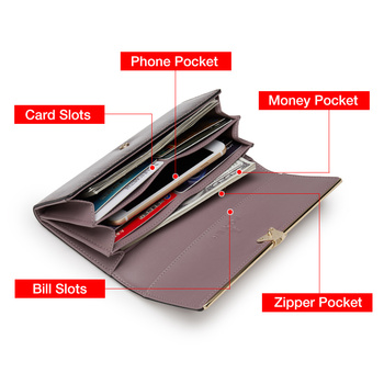 FOXER Brand Women Split Leather Wallets Female Clutch Bag Fashion Coins Card Holder Luxury Purse for Ladies Women's Long Wallet 5