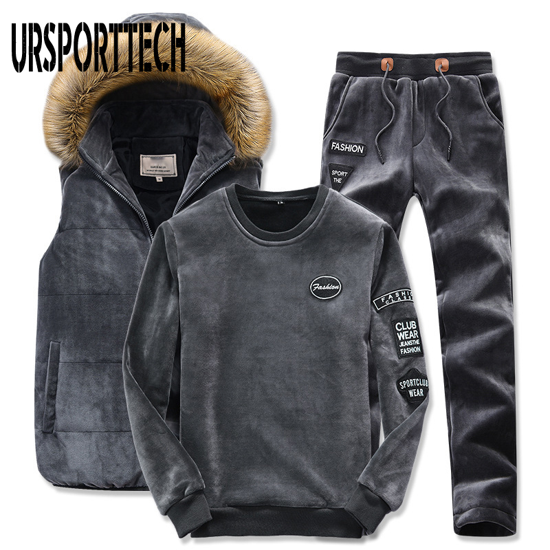 3 Piece Set Tracksuit Men Winter Sporting Suit Hooded Vest+Sweatshirt+Pants Plus Gold Velvet Thick Sportswear Homme Men Clothing