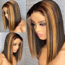 Выделите парики шнурка #1B/30 Выделите парик 13X4 Цветной Синтетические волосы на кружеве парики из натуральных волос для Для женщин предварите...