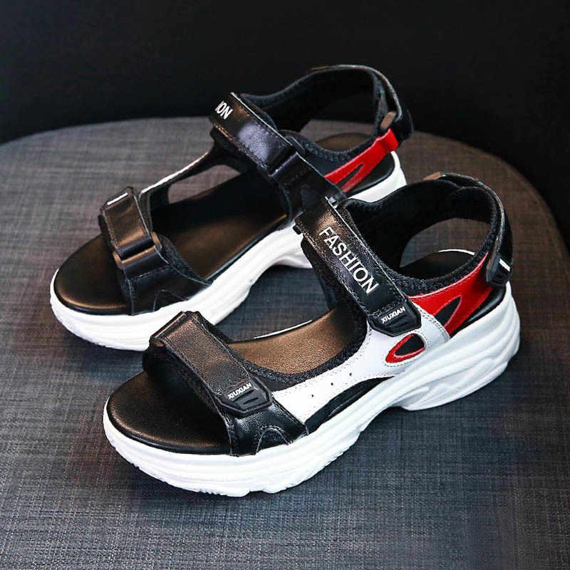Roma sandálias femininas verão 2020 plataforma plana cunha sapatos sandálias harajuku dedo do pé aberto praia gancho & loop altura crescente sandálias