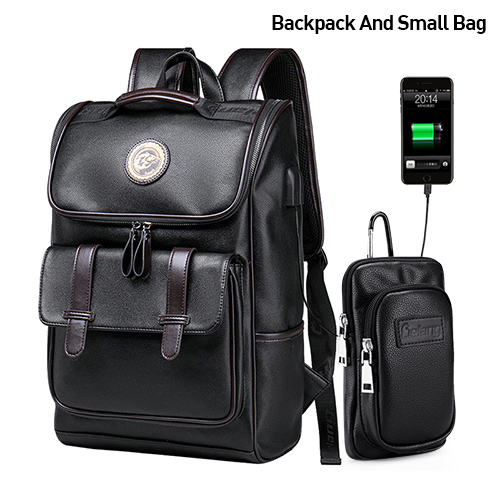 Men Backpack External USB Charge Waterproof Backpack Fashion PU Leather Travel Bag Casual School Bag leather bookbag