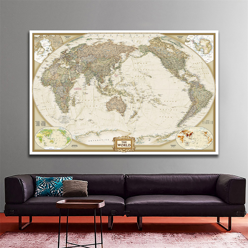 Antique World Map 150x100cm Foldable The World Physical Map Non-woven Map For Education And Culture Office Decoration