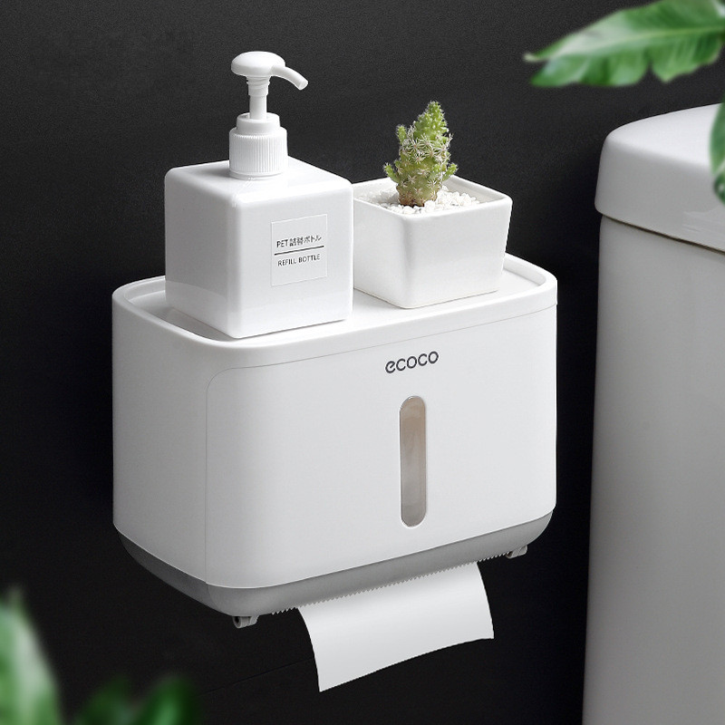 Wall Mount Toilet Paper Holder Shelf Box Waterproof Toilet Paper Tray Roll Paper Storage Box Organizer Bathroom Accessories