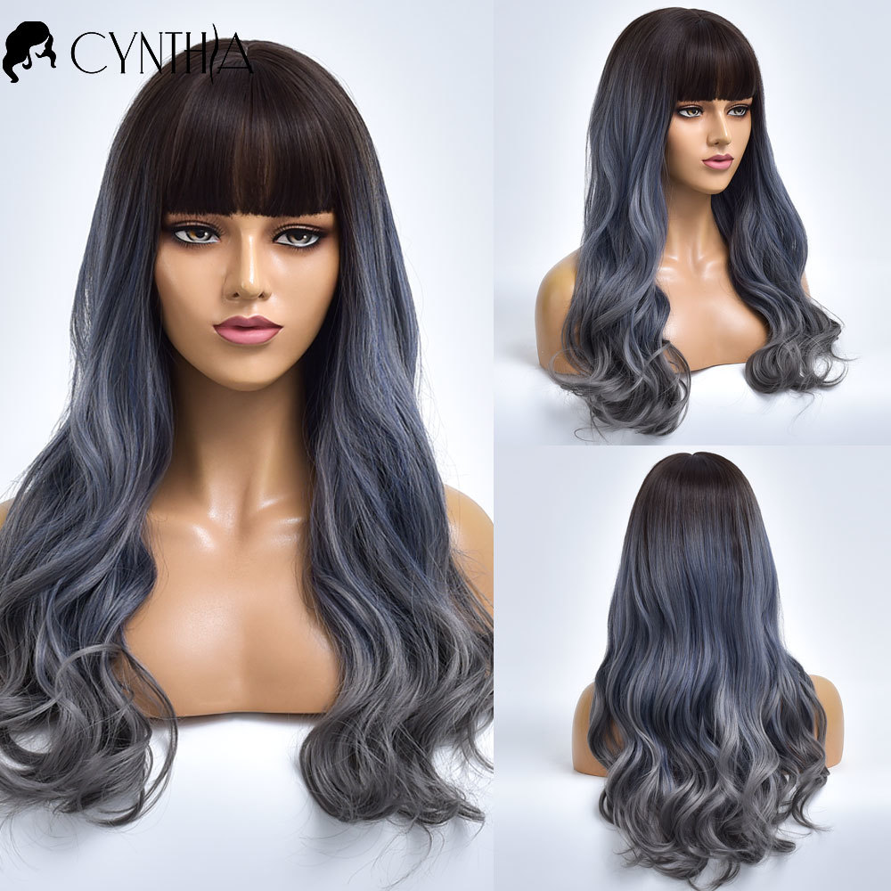 Ombre Dark To Grey Wave Synthetic Wigs For Black White Women With Bangs Daily Heat Resistant Long Fake Hair Natural Cosplay Wig