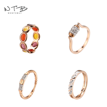 Wantobuy Fashion 316L Rose Gold Stainless Steel Ring 2019 for Women Luxury Rhinestone Enamel Engagement Wedding Party