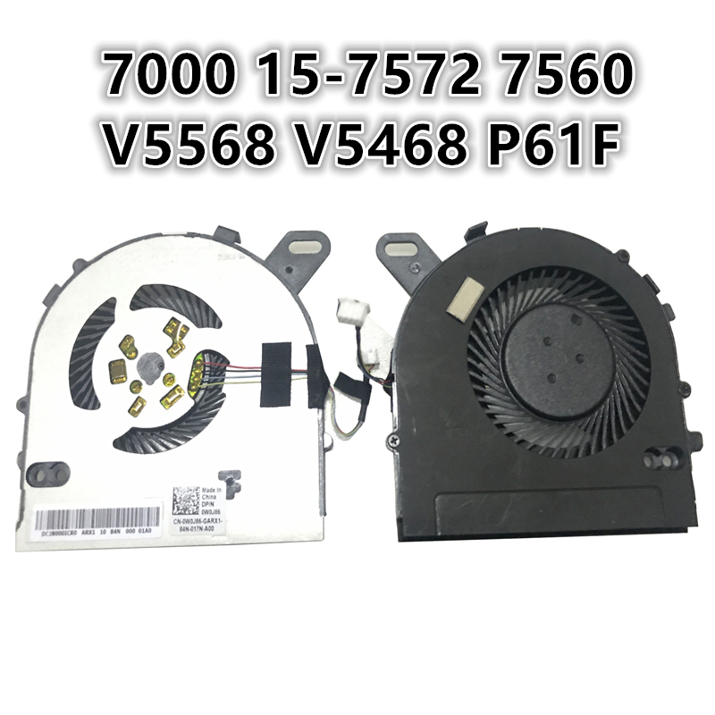 New Laptop CPU Cooling Fan For DELL 7000 15-7572 7560 Vsotro V5568 V5468 P61F Notebook Cooler Radiator