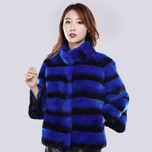 Image 5 - Kobiety szynszyla futro pani prawdziwe futro królika reks kurtka w paski skóra kobiet prawdziwa odzież z futrem gruba ciepła, markowa moda