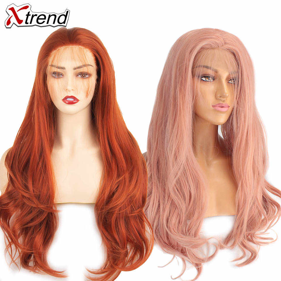 Xtrend-peluca sintética con malla frontal, rosa, largo, rojo, morado, naranja, Ombre, gris, Rubio, blanco, pelucas para mujeres negras con ondas
