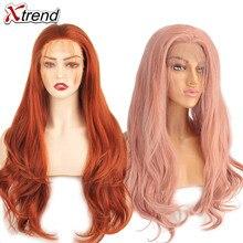 Xtrend pelucas de cabello sintético peluca con malla frontal Rosa largo rojo cobrizo púrpura naranja degradado gris Rubio blanco para mujeres negras cabello ondulado femenino