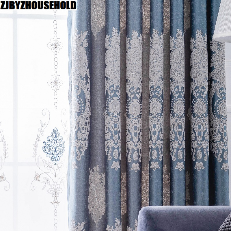 2019 New Blue Curtains Upscale European And American Style Curtains For Living Room Curtains For Bedroom Villa Study Curtains