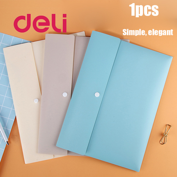 Deli 1PCS 3 Colors Waterproof A4 File Document Bag PP Thickened Pouch Bill Folder Holder Organizer Stationery Office Supplies