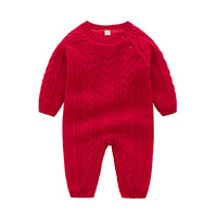 Infant Baby Rompers Winter Warm Newborn Long Sleeve Jumpsuits Outfits Solid Color Knitted Infant Girls Overalls Kids Boy Costume