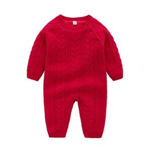 Image 2 - เด็กทารกถักฤดูหนาว WARM ทารกแรกเกิด Bebes แขนยาว Jumpsuits ชุดสีทึบเด็กทารก Overalls เด็กเครื่องแต่งกาย