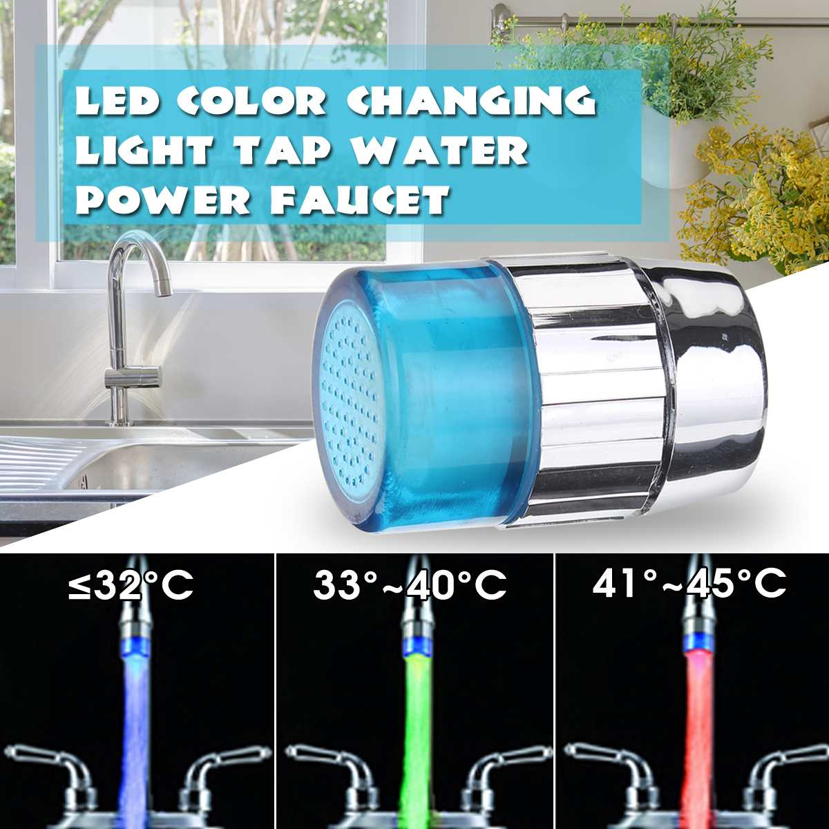 LED Faucet Temperature Sensor Kitchen LED Light Water Faucets Tap Heads RGB Glow Shower Stream Bathroom 7 Color Change