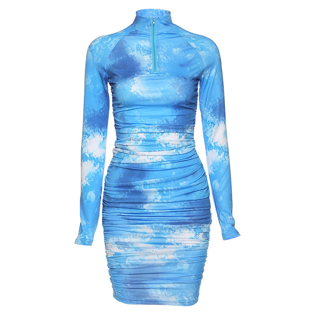 2020 Spring  Long Sleeve Tie Dye Ruched Bodycon Sexy Midi Dress Women Streetwear Outfits Party Bright Clothing 6