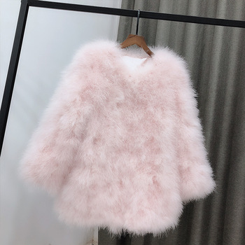 Customized 2020 autumn winter women fashion ostrich feather jackets medium long real fur coats plus size puffy turkey fur A162 image