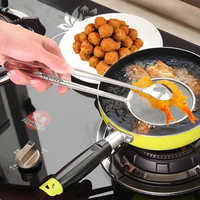 Buffet Food Serving Tong Snack Fryer Strainer Kitchen Stainless Steel Mesh Frying Food Tong Clip Oil Colander Kitchen Gadgets