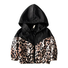 Kids Baby Girls Jacket Leopard Print Patchwork Hooded Coat A