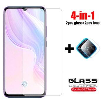 Перейти на Алиэкспресс и купить 4-в-1 для стекла vivo V17, закаленное стекло vivo V19 Y50 Y12 Y15 V11 Pro, Защитная пленка для экрана камеры, стекло для vivo V17
