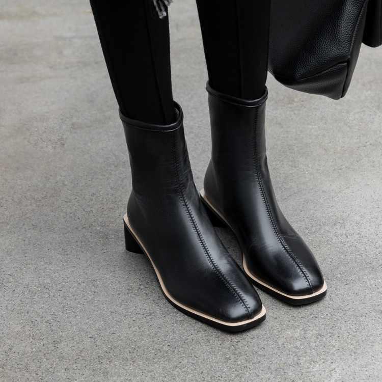 Big Size 9 10 11 12 stivali scarpe da donna alla caviglia stivali per le donne signore stivali scarpe donna inverno testa Quadrata posteriore del cuoio della chiusura lampo
