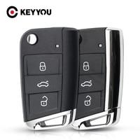 Keyyou 3 ボタン変更された折り畳みリモート車のキーシェルフォルクスワーゲンvwゴルフ 7 gti MK7 シュコダオクタヴィアA7 シート