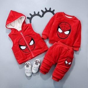 Image 4 - Baby Boy Kleding Cartoon Micky Warm Pak Voor De Jongen Aged 1 3 Jaar Oude Baby Winter Fluwelen Dikker kleding Set 3 Stuks