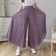 TIGENA – pantalon à jambes larges pour femme, longueur cheville, élastique, taille haute, en mousseline, plissé, ample, été, 2021