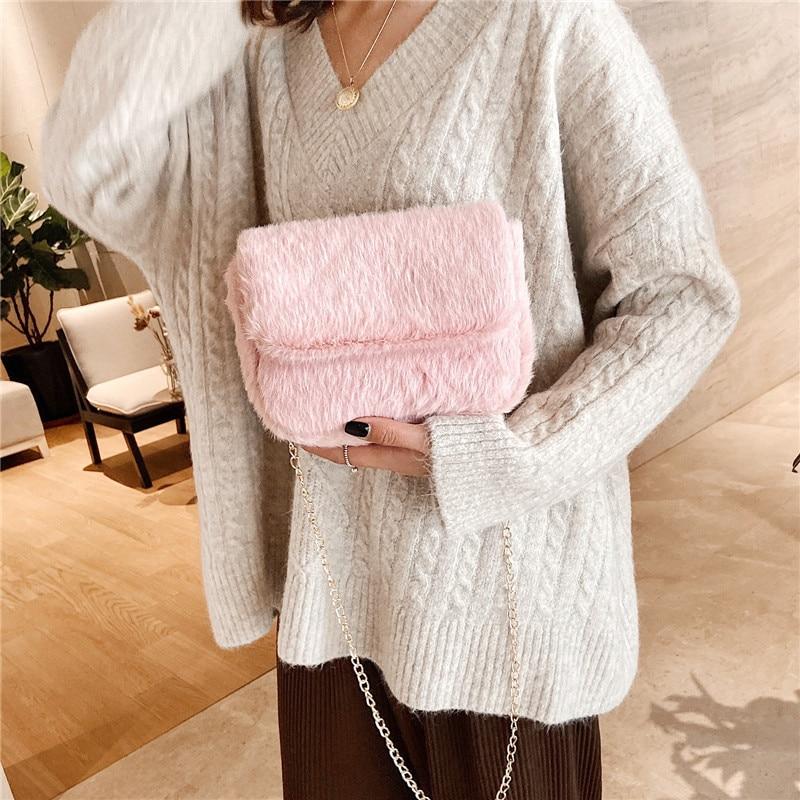Faux Fur Crossbody Bags for Women Autumn Winter Plush Purses and Handbags Female Phone Shoulder Bag Girls Wallet