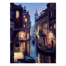 Diamond Embroidery Cross-Stitch Water Town Square Picture Rhinestone Landscape Painting DIY