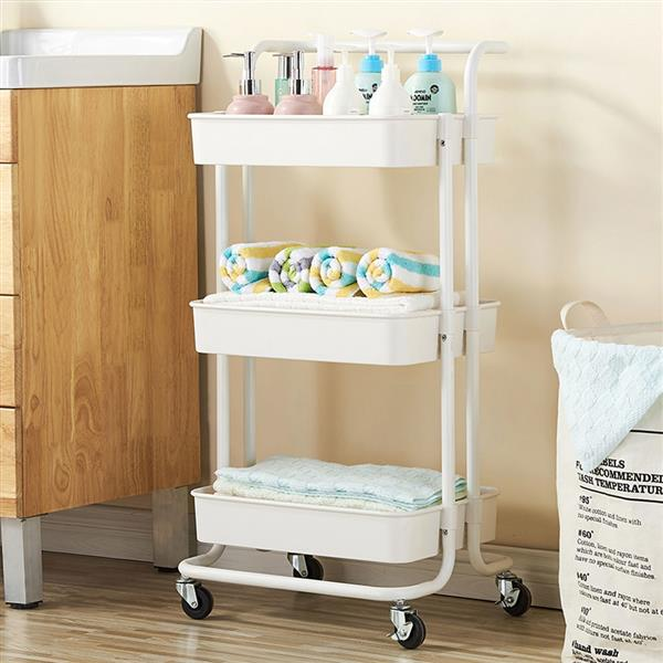 Mobile Racks Carts Wheeled Bedroom Kitchen Storage Beauty 3-Tier Push Storage Shelf Rolling Cart Grocery Cart Shopping Cart