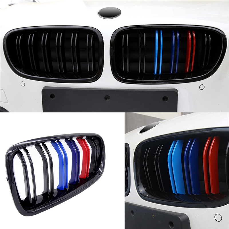1 Pair New Car Racing Grill Front Kidney Grilles M Color 1 Line 2 Line For BMW F30 F31 F35 320i 328i 335i 2012-2015 2016 2017