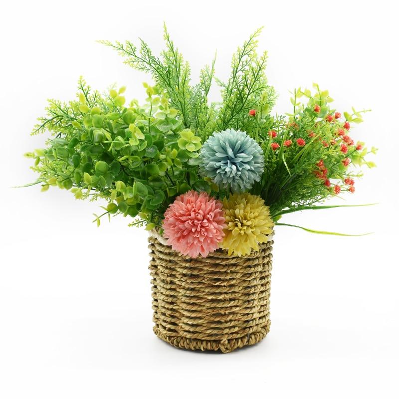 Cheap Artificial Plants Plastic Flowers For Scrapbooking Vases For Home Decor Fern Eucalyptus Leaves Ornamental Flowerpot
