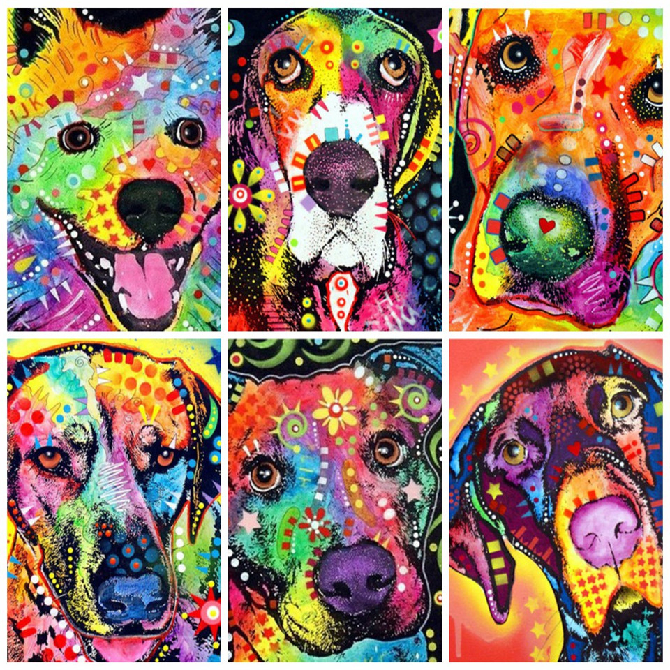 AZQSD Paint By Number Canvas Painting Kits Dog DIY Unframe Handpainted Gift Acrylic Paint Coloring By Numbers Animal Decoration