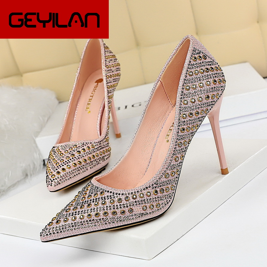 European And American-Style Fashion High Heels Shallow Mouth Pointed Metal Rivet Rhinestone Sexy Club Was Thin Shoes High Heels