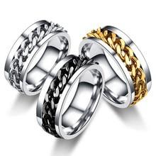 Letdiffery прикольный из нержавеющей стали вращающийся мужские кольца высокого качественный Спиннер цепи в стиле панк для женщин ювелирные изд...