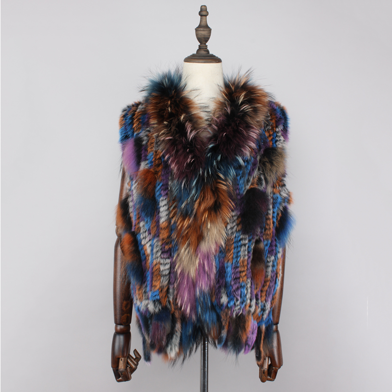 2019 New Colors Women Genuine Real Rabbit Fur Vest Coat Tassels Raccoon Fur Collar Waistcoat
