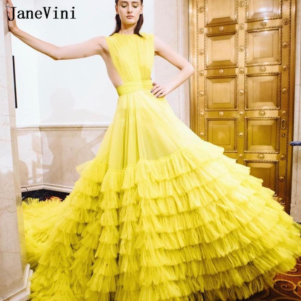 JaneVini 2020 Charming Dubai Design Yellow Dress Layered Ruffles Long Train Strapless Tulle A Line Women Plus Size Prom Dresses