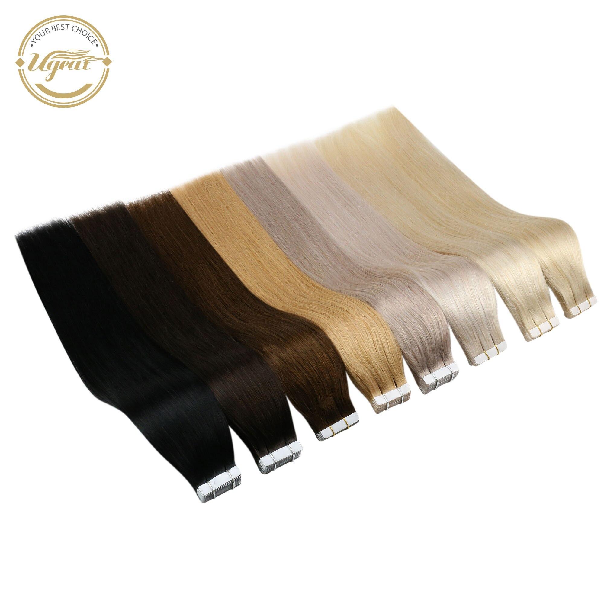 [Venda] fita de ugeat em extensões do cabelo humano real cabelo brasileiro 10 p/20 p/40 p máquina remy sedosa reta sem emenda trama da pele 2.5 g/p