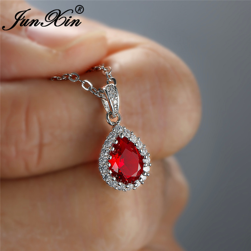 Multicolor Crystal Water Drop Stone Pendant Green Red Blue Zircon Necklaces For Women White Gold Colorful Pear Cz Wedding Choker