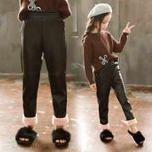 Girls Leggings Toddler & Kids Thick Warm Pants PU Leather Cotton Pant Winter Baby Thickened For