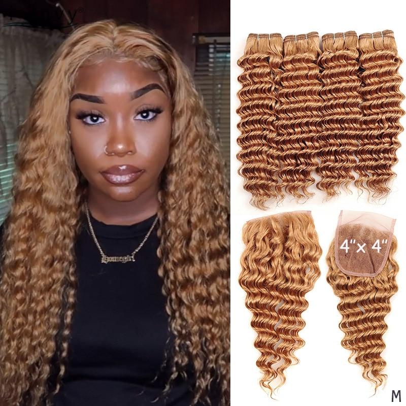 Honey Blonde Deep Wave Bundles With Closure Colored 27 Peruvian Hair Bundles With Closure Blonde Human Hair Weave Non-remy
