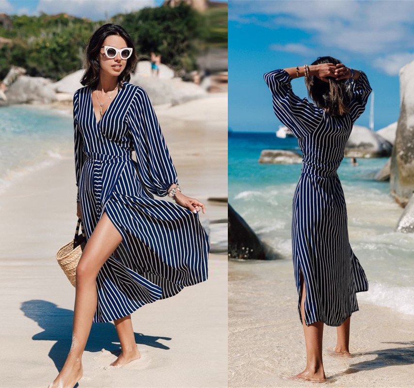 Europe And America Dark Blue Stripes Quick-Dry Tie Waist V-neck Long Beach Long Skirts Europe And America Bikini Cover-up Dress