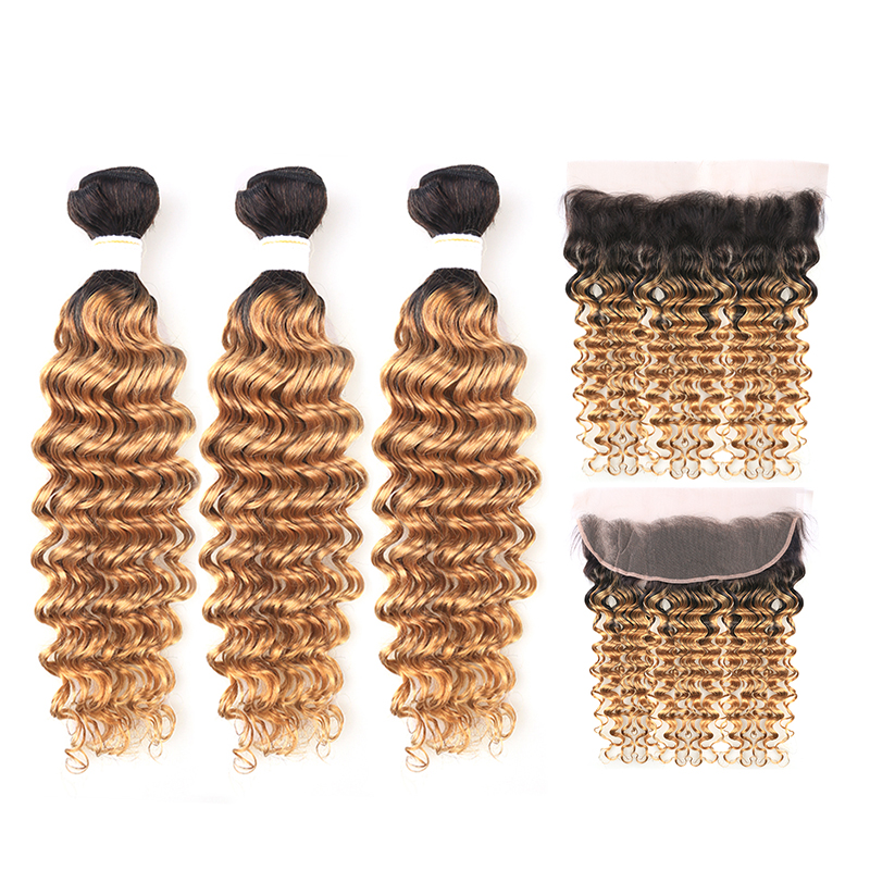 Brazilian Two Tone Deep Wave Hair Bundles With Frontal 13*4 KEMY HAIR T1B/27 Human Hair Weave Bundles With Lace Closure Non-remy