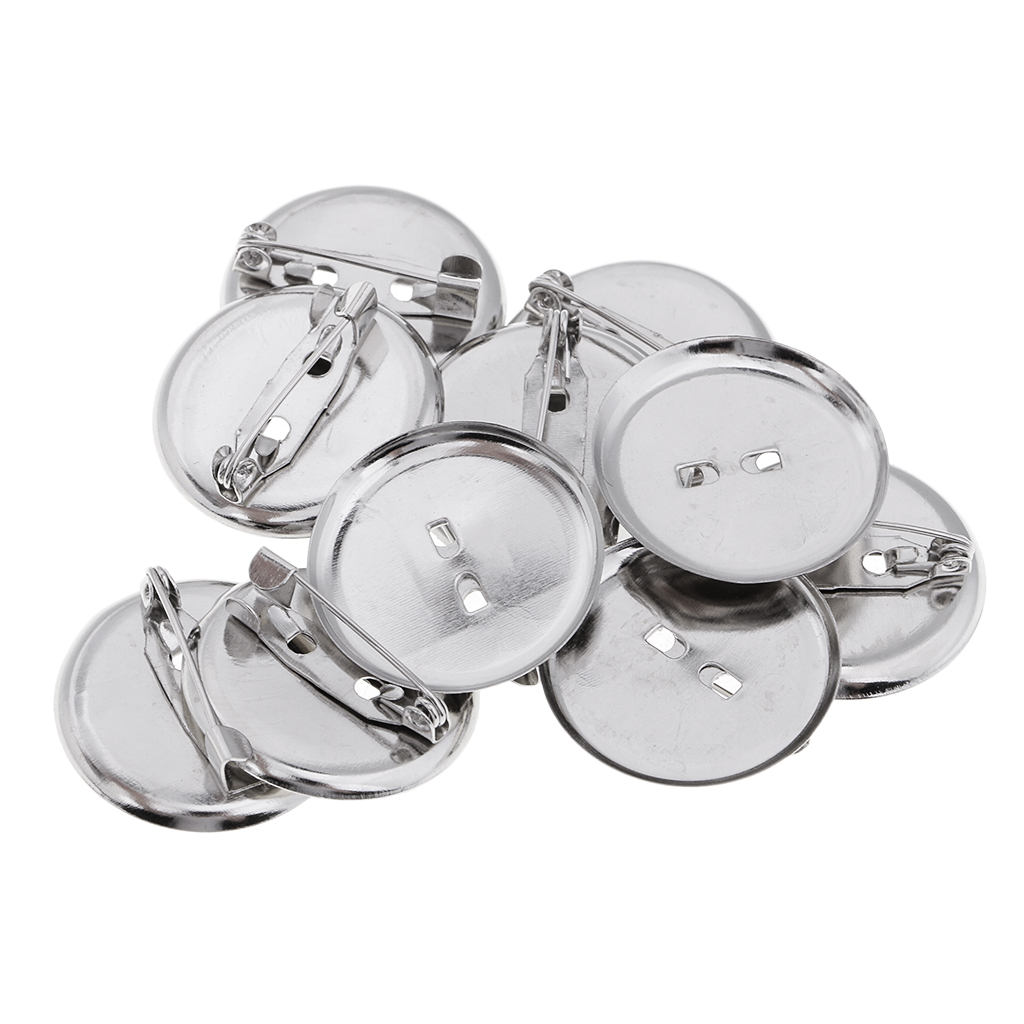 10 Pieces Women Men <font><b>Blank</b></font> Brooch Settings Lapel <font><b>Pin</b></font> <font><b>Badge</b></font> Base <font><b>Pin</b></font>-Back <font><b>Button</b></font> Base 23MM Metal image