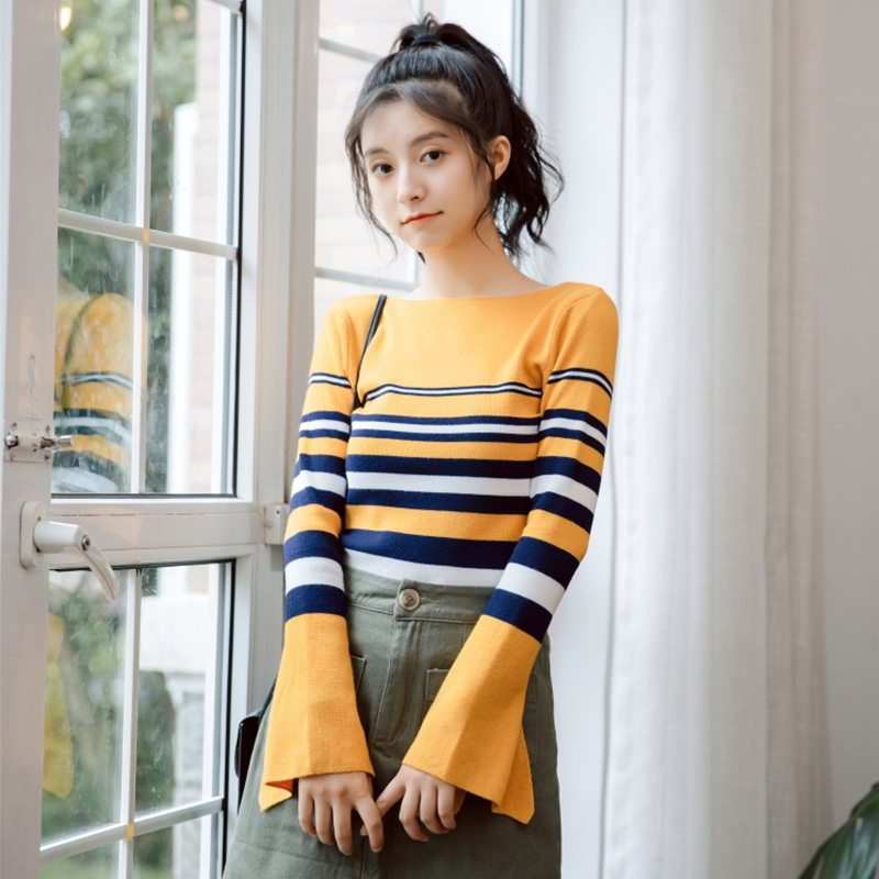 2020 Autumn Casual Bottoming Pullovers Female Knitting Sweater Top Women Long Sleeve Striped Sweater