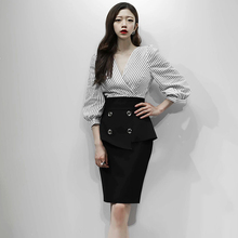 Women Autumn 2 Pieces Set Suits Striped Blouse Pencil Skirt Bodycon Of