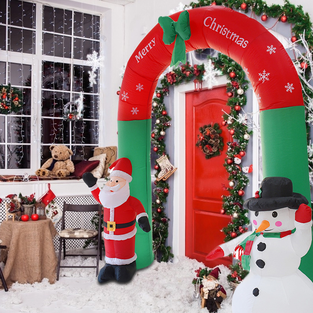 Inflatable Christmas Santa Claus Snowman Arch Outdoor Ornaments Xmas Party Props Christmas Decorations For Home Shop Yard Garden