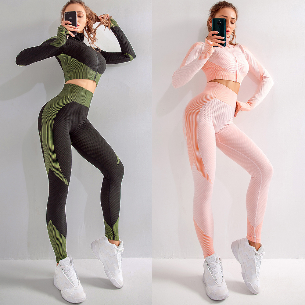 Seamless Women 2 Piece Set Push Up Leggings  Top Bra Yoga Sport Fitness Set Clothes Yoga Gym Suit  Crop Tops High Waist Leggings